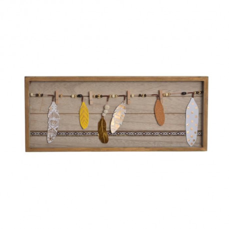 Porte-photos mural Boho en bois - 48 x 20 x 2,5 cm - Marron naturel