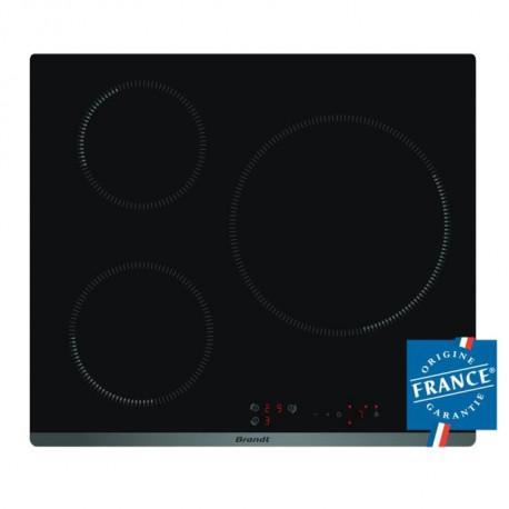 BRANDT TI118B - Table de cuisson - Induction - 3 zones - 7200W - L58 x P51cm - Revetement verre - Noir