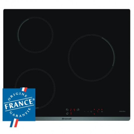 BRANDT BPI6310B - Table de cuisson induction - 3 zones - 4600W - L58 x P51cm - Revetement verre - Noir