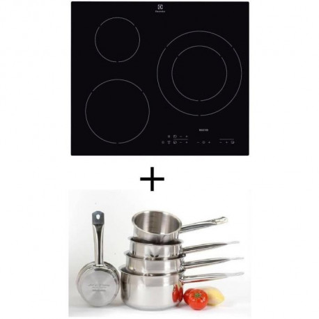 Pack cuisson ELECTROLUX E6113HIK Table de cuisson Induction - 3 zones - 7200W - L56 x P49cm + ART&CUISINE Set 5 pieces