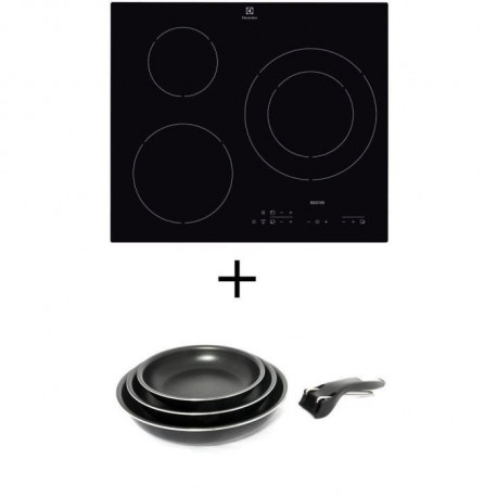 Pack cuisson ELECTROLUX E6113HIK Table de cuisson Induction - 3 zones - 7200W - L56 x P49cm + SITRAM Set 3 poeles 20/24/28