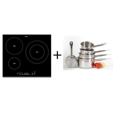 Pack cuisson Whirlpool ACM860BF-Table de cuisson induction-3 zones-7000 W-L58 x P51 cm + ART&CUISINE Set 5 pieces tous feux