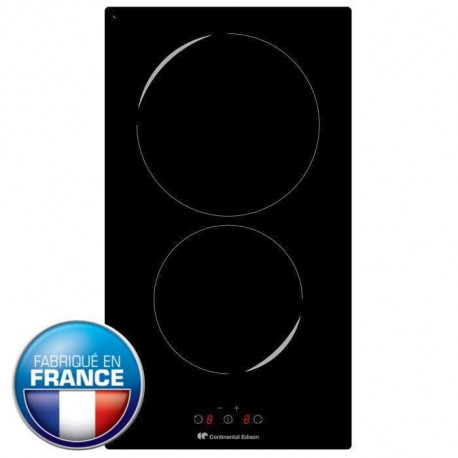 CONTINENTAL EDISON CETI2FR Table a induction encastrable-2 zones-2800W-L29xP52cm-Revetement verre-Noir