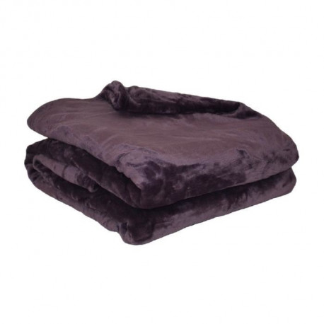 Couverture microflanelle 220x240 cm prune