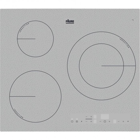FAURE FIT6360CS - Table de cuisson induction - 3 zones - 7350 W - L 59 x P 52 cm - Revetement verre - Silver