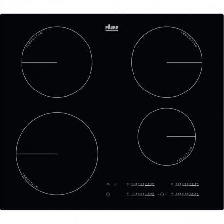 FAURE FIT6470CB - Table de cuisson induction - 4 zones - 7350 W - L 59 x P 52 cm - Revetement verre - Noir