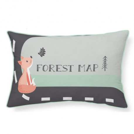 TODAY Coussin 100% coton Forest Map - 30x50 cm