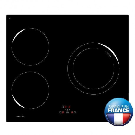 OCEANIC OCEATI3Z1B Table de cuisson a induction-3 zones-4900W-L59xP52cm-Revetement verre-Noir