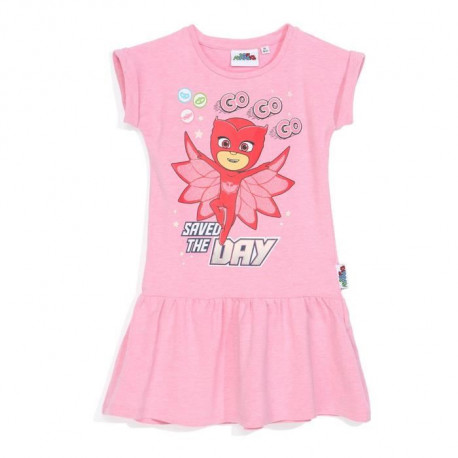 PYJAMASQUES Robe Rose Enfant Fille Sérigraphie Rubber