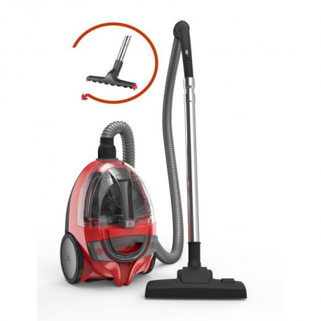 DIRT DEVIL DD2630-1 Aspirateur traîneau sans sac BIBOX - 800W - 80 dB - A - Rouge