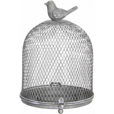 HOUSE OF SEASONS Cage Déco Grise  H19,5 x d14,5 cm