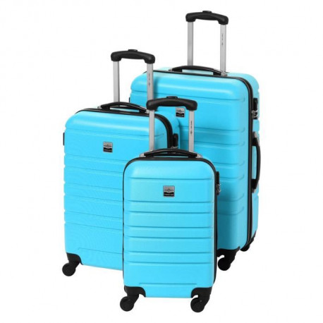 FRANCE BAG Set de 3 Valises Rigide ABS & 4 Roues 55-65-70cm Bleu ciel