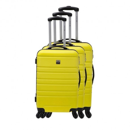 FRANCE BAG Set de 3 Valises Rigide ABS 4 Roues 55-65-70cm Jaune