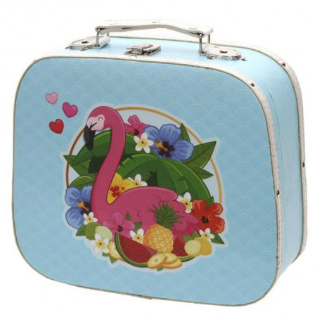 Lot de 2 valises décoratives Flamant Rose - 10.5cm