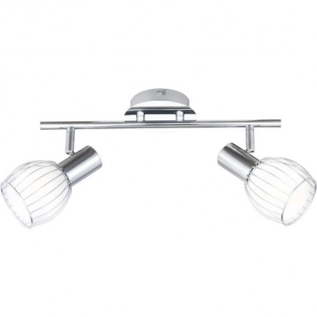 GLOBO LIGHTING Spot chrome - Verre satiné - Filet chromé - 360 mm x 150 mm
