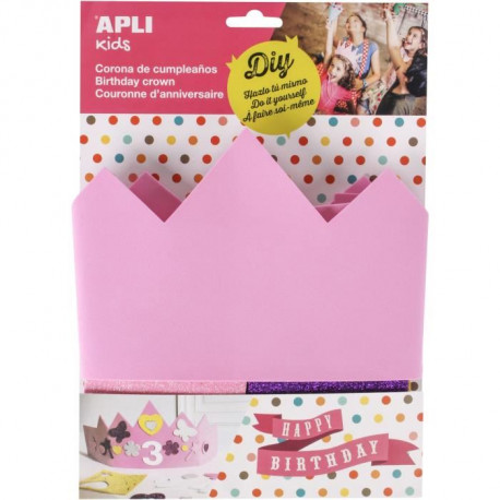 APLI Sachet 1 Couronne en Mousse Rose
