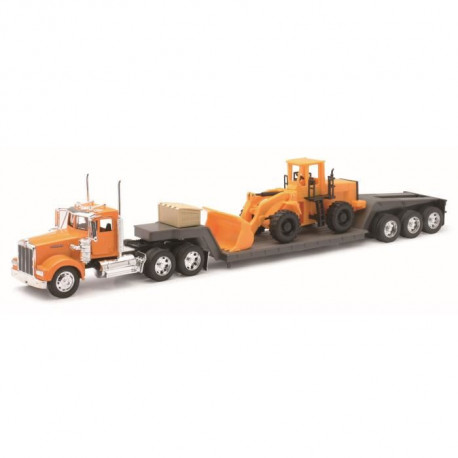 NEW RAY  Camion KENWORTH Transport Tractopelle - Miniature - 1/32° - 55 cm