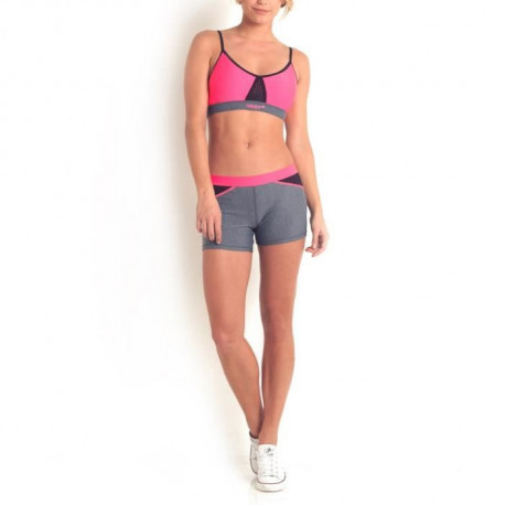HAPPY AND SO Shorty Fitness - Femme - Gris chiné et Rose fluo