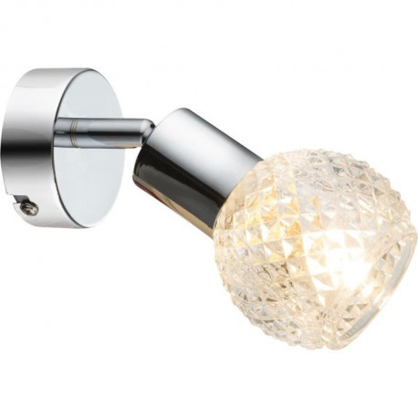 GLOBO LIGHTING Spot chrome  - Verre translucide - l8 cm x H15,5 cm - 40W 230V requise