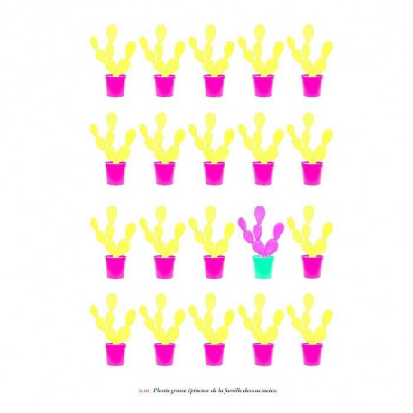Tableau déco glossy CACTUS YELLOW 50x70cm