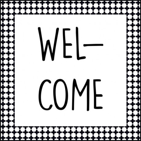 Tableau déco glossy WORDING WELCOME 50x50cm