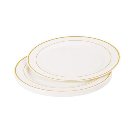 Lot de 6 assiettes blanches avec liseré or diametre 19 cm