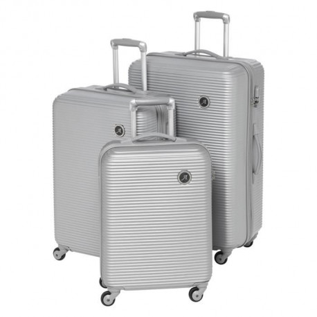 MANOUKIAN Set de 3 Valises Rigide Polycarbonate 4 Roues 48-60-70 cm Silver