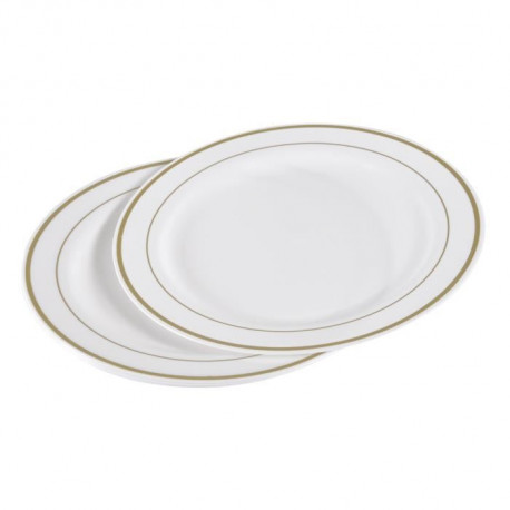 Lot de 6 assiettes blanches avec liseré or diametre 23 cm