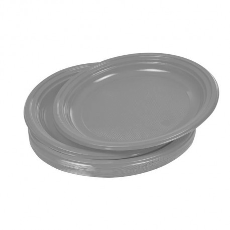 Lot de 20 assiettes plates jetables diametre 22 cm gris