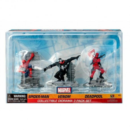 Diorama de 3 figurines Marvel - Spider-Man -Venom et Deadpool Monogram