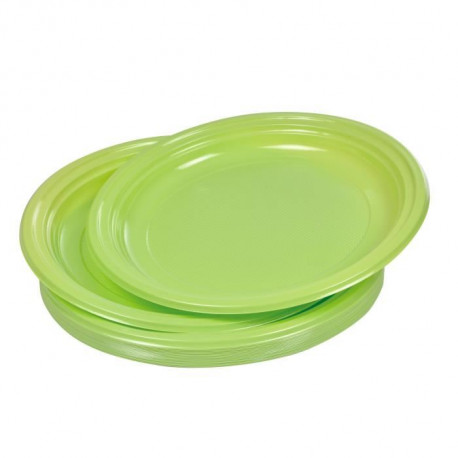 Lot de 20 assiettes plates jetables diametre 22 cm vert