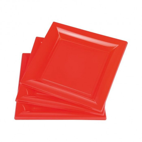 Lot de 6 assiettes carrées jetables 23x23 cm rouge