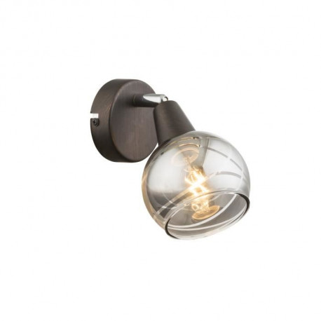 GLOBO LIGHTING Spot LED bronze - Verre fumé translucide - 97 mm x 150 mm x 186 mm