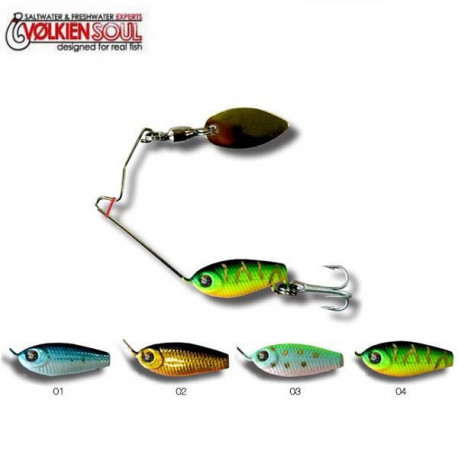 VOLKIEN Leurre pour spinnerbait Mini Hurricane SB - 2 Black Gold Orange
