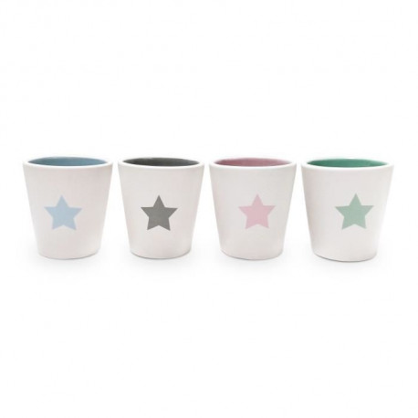 YOKO DESIGN Set de 4 tasses expresso Star en céramique blanc