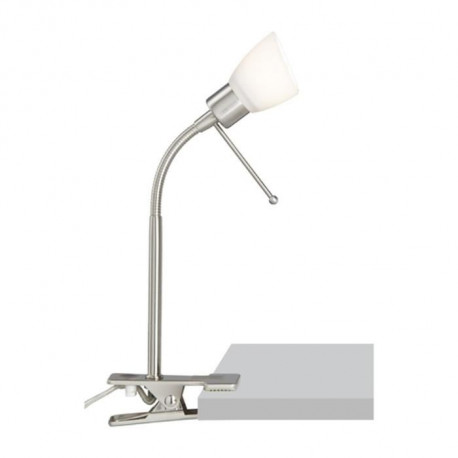"""BILL Lampe orientable a fixation """"pince"""" chrome/blanc"""