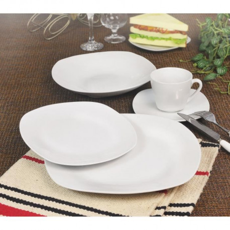 T1003048-30X Service de table - 30 pcs - Porcelaine blanche