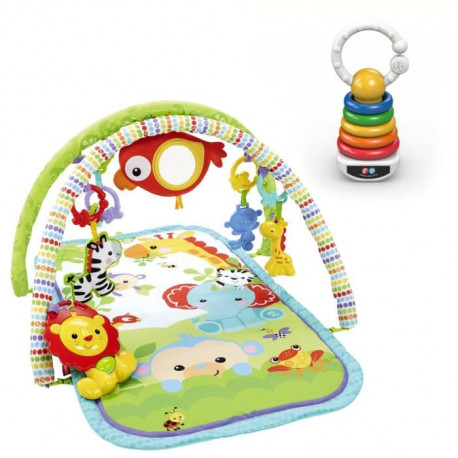 Pack FISHER PRICE Tapis d'Eveil amis de la jungle 3 en 1 + Pyramide Hochet offert