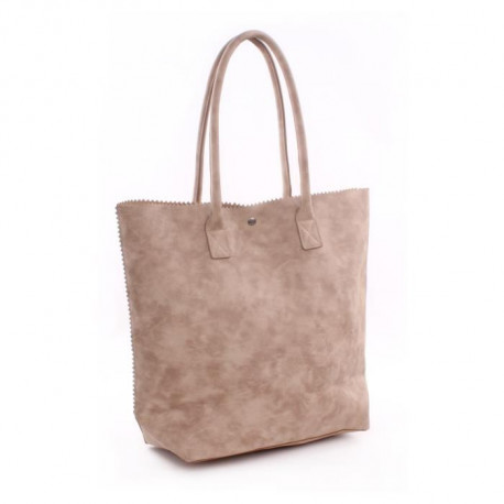 GENSHII Sac porté épaule Anytime you need a Friend en simili - 36x30x13 cm - Gris taupe