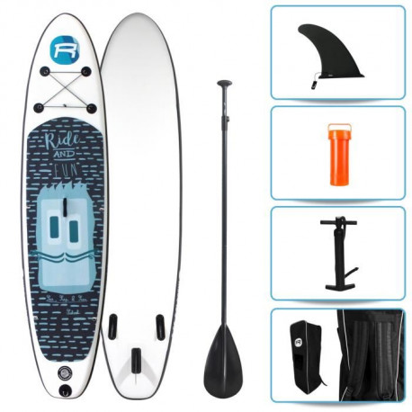 ROHE Pack Stand Up Paddle Gonflable Kiddo 10'6/320cm x 30'' x 6'' Avec Pagaie, Pompe et Housse