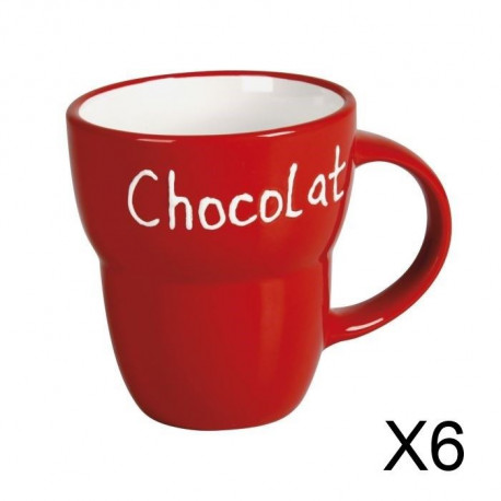 "Lot 6 Mugs céramique ""Chocolat"" ROUGE Grand Modele"