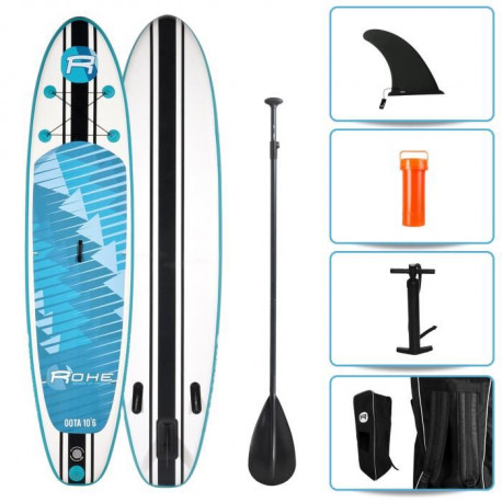 ROHE Pack Stand Up Paddle Gonflable Oota 10'6/320cm x 30''x 6'' Avec Pagaie, Pompe et Housse