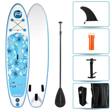 ROHE Pack Stand Up Paddle Gonflable Flower 10'6/320cm x 30'' x 6'' Avec Pagaie, Pompe et Housse