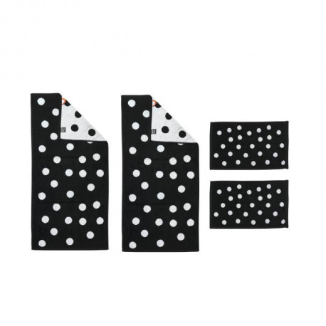DONE Daily Shapes DOTS 2 Serviettes Invité + 2 Serviettes de toilette - Noir et Blanc