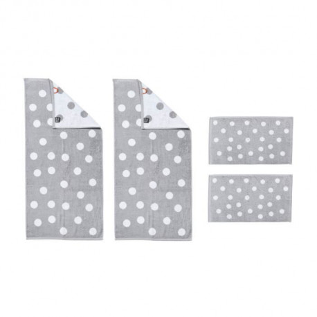 DONE Daily Shapes DOTS 2 Serviettes Invité + 2 Serviettes de toilette - Argent et Blanc