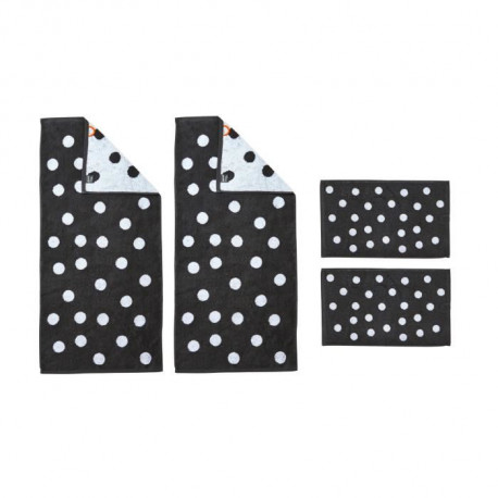 DONE Daily Shapes DOTS 2 Serviettes Invité + 2 Serviettes de toilette - Anthracite et Blanc