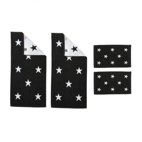 DONE Daily Shapes STARS 2 Serviettes Invité + 2 Serviettes de toilette - Noir et Blanc
