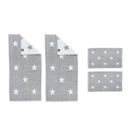 DONE Daily Shapes STARS 2 Serviettes Invité + 2 Serviettes de toilette - Argent et Blanc
