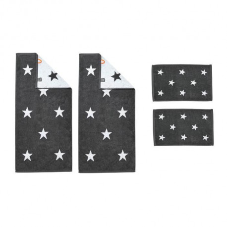 DONE Daily Shapes STARS 2 Serviettes Invité + 2 Serviettes de toilette - Anthracite et Blanc