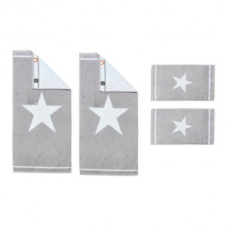 DONE Daily Shapes 1 STAR 2 Serviettes Invité + 2 Serviettes de toilette - Argent et Blanc